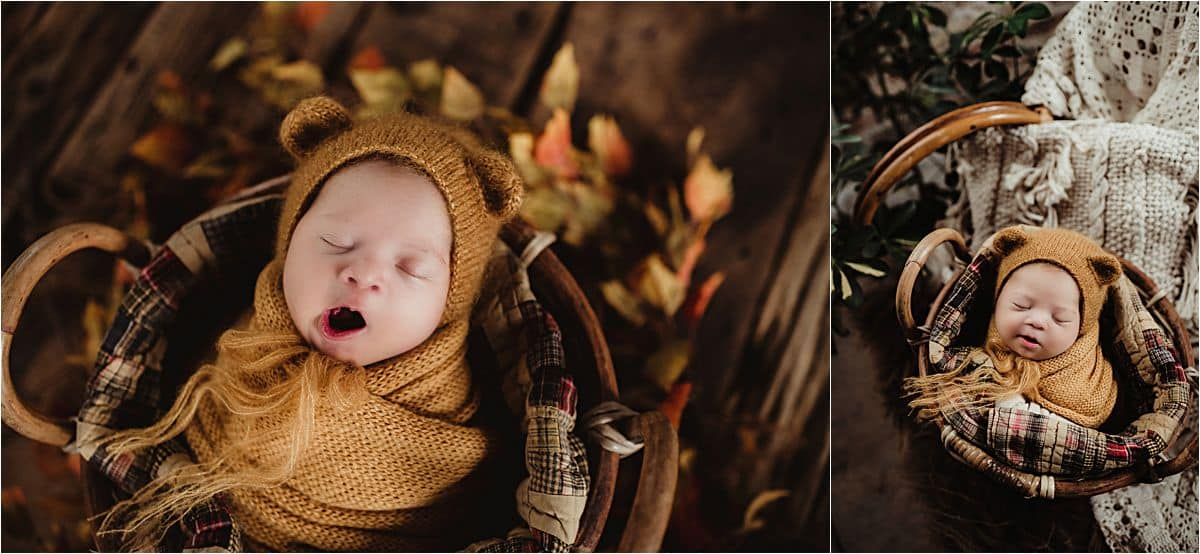 Fall Newborn Session Boy in Bear Hat