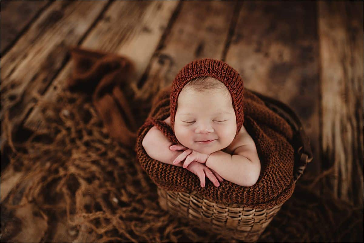 Fall Newborn Session Newborn Smiling in Sleep