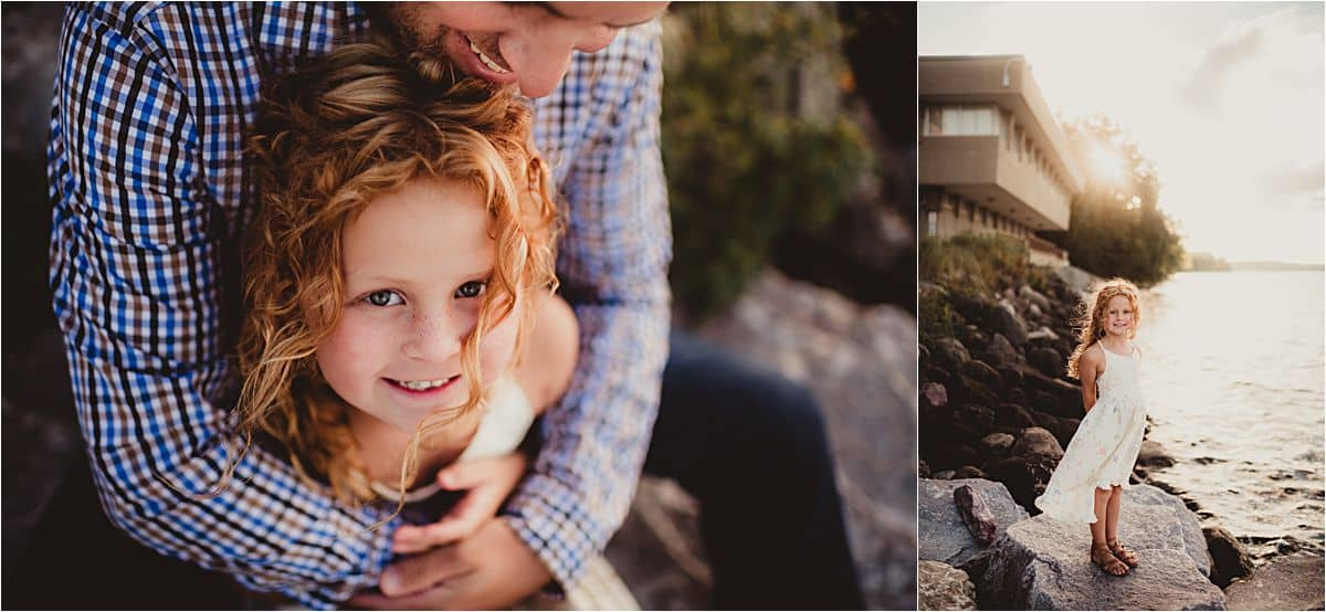 Campus Family Session Close Up Dad Hugging Daughter