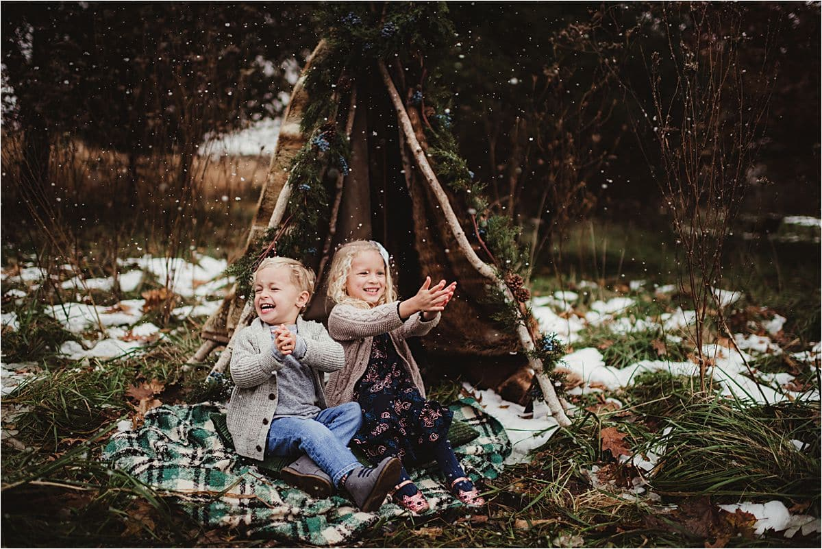 Kids in Teepee with Snow
