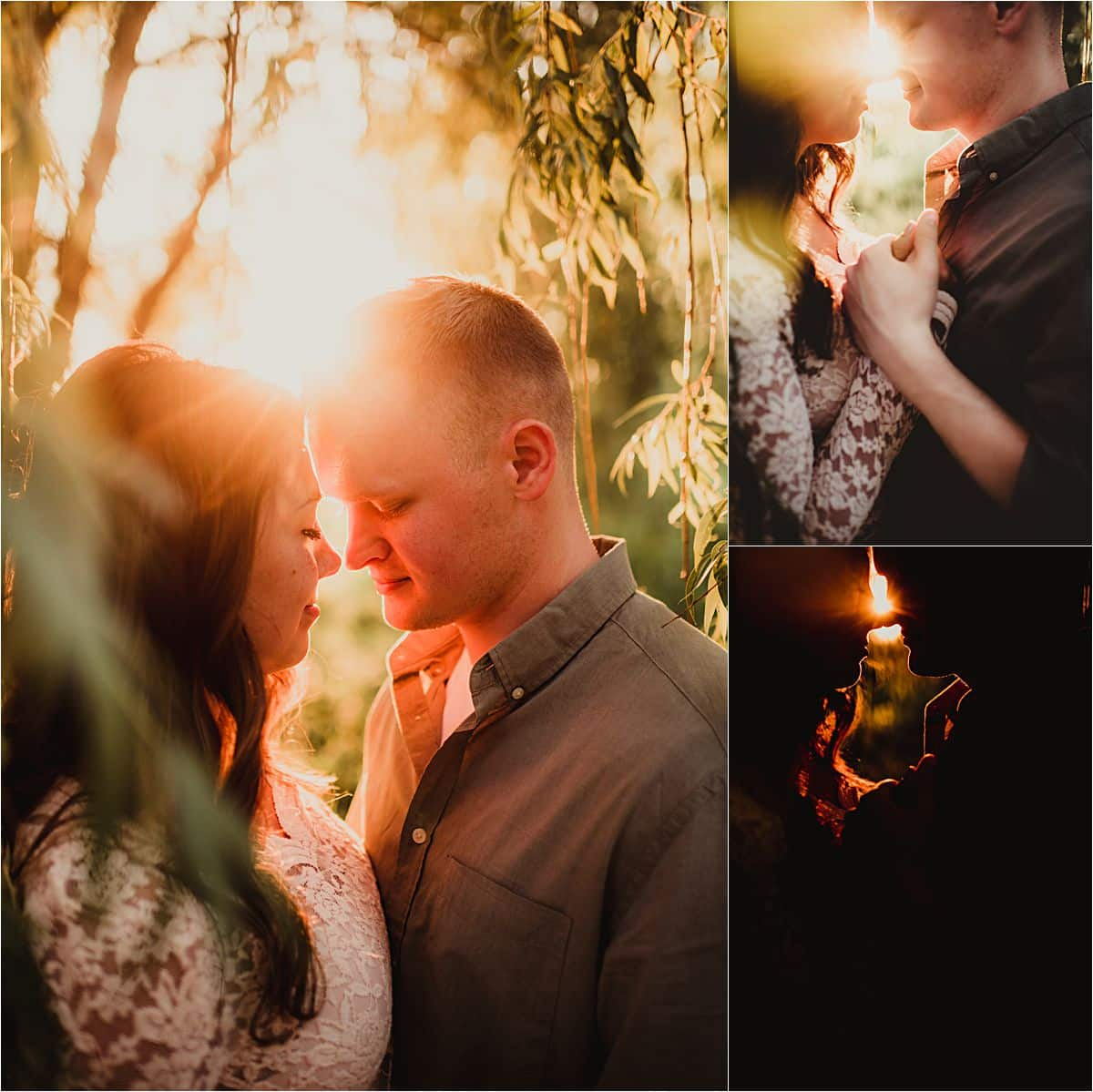 Romantic Sunset Engagement Session Close Up Couple