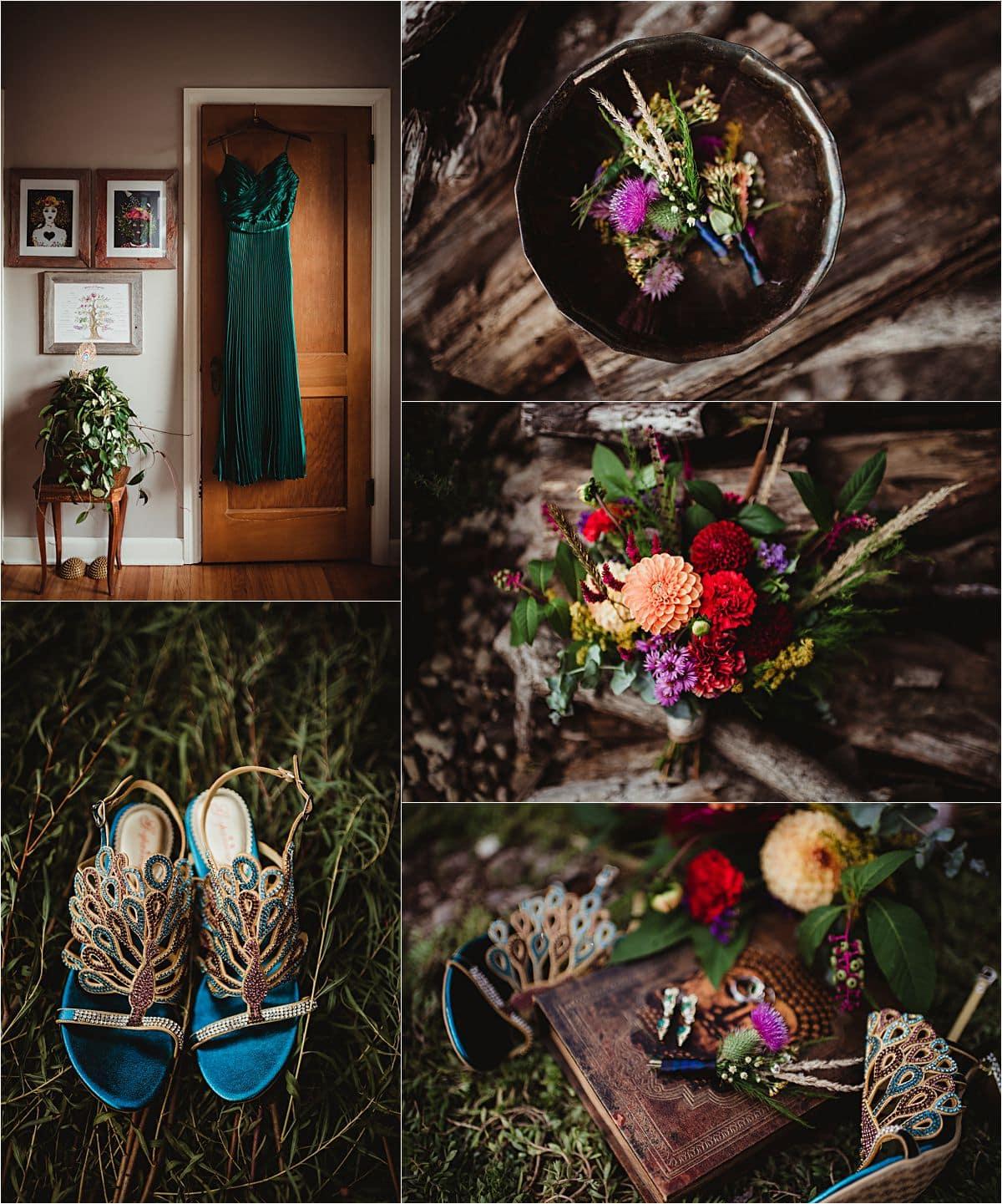 Jewel Toned Micro Wedding Bride Details
