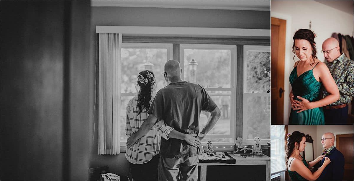 Jewel Toned Micro Wedding Bride and Groom Getting Ready