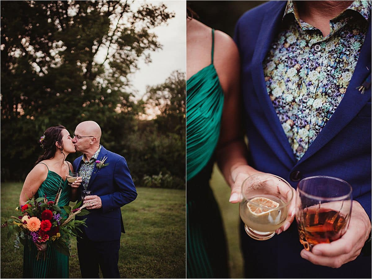 Close Up of Bride and Groom Drinking