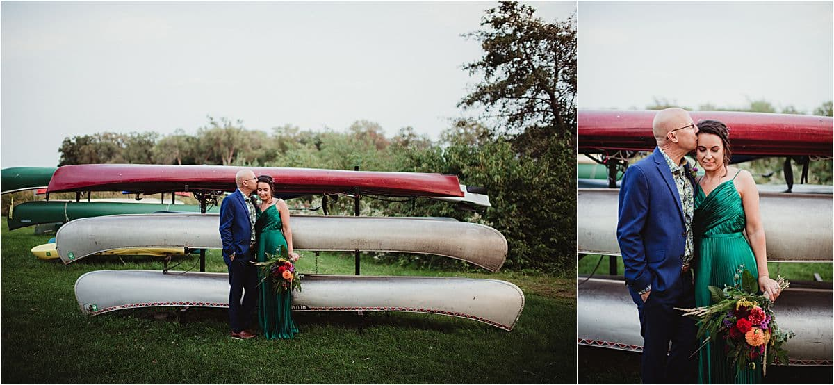 Jewel Toned Micro Wedding Bride and Groom by Boats