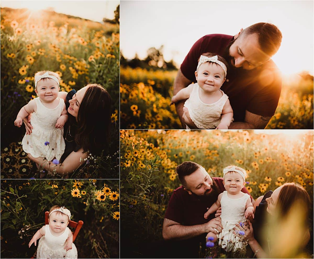 Golden Hour Wildflower Session Collage Family