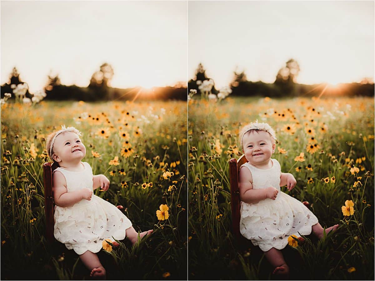 Baby Girl on Chair Wildflowers