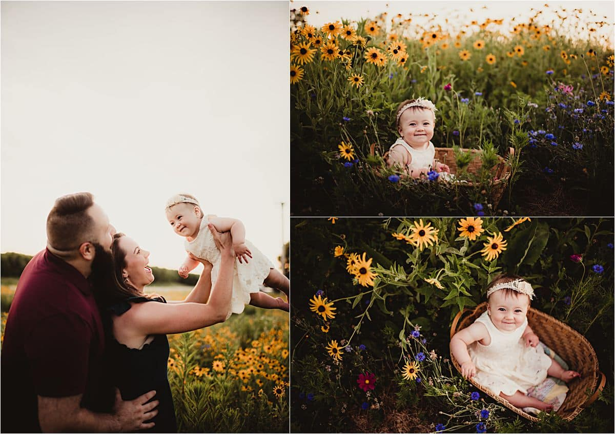 Golden Hour Wildflower Session Baby Girl in Baskets