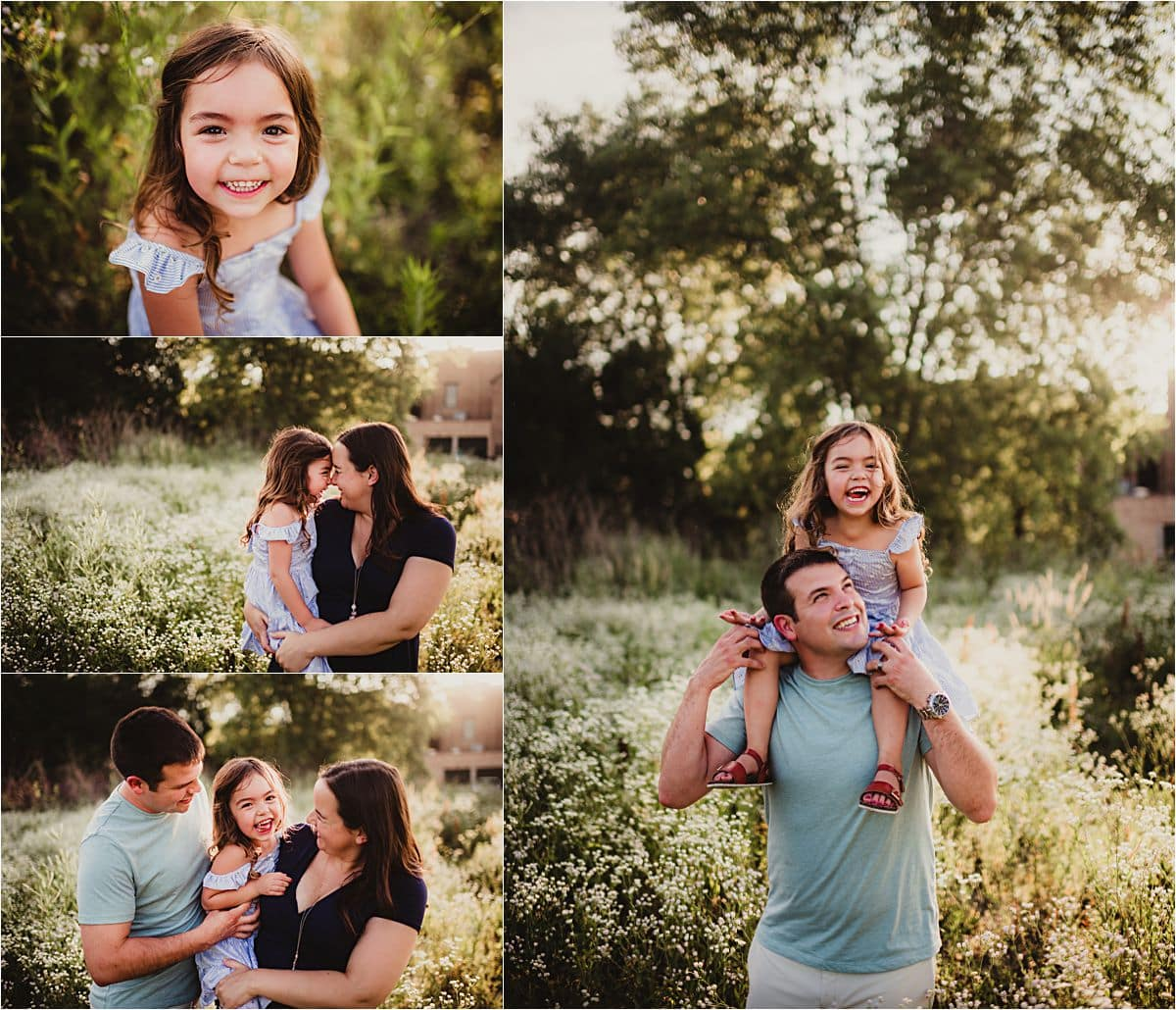 Urban Wildflower Family Maternity Session Collage Parents with Little Girl