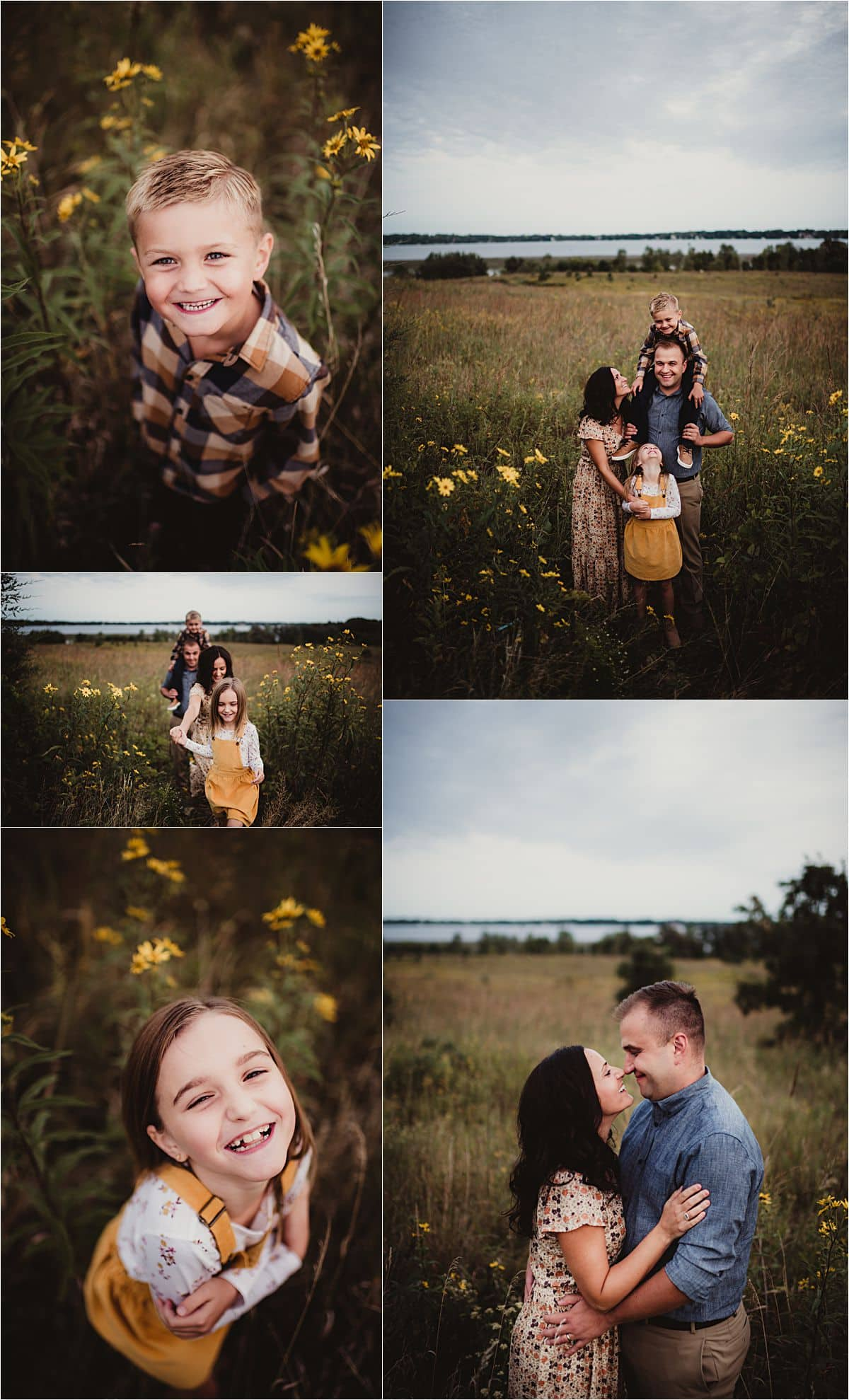 Prairie Park Family Session Collage Family in Field