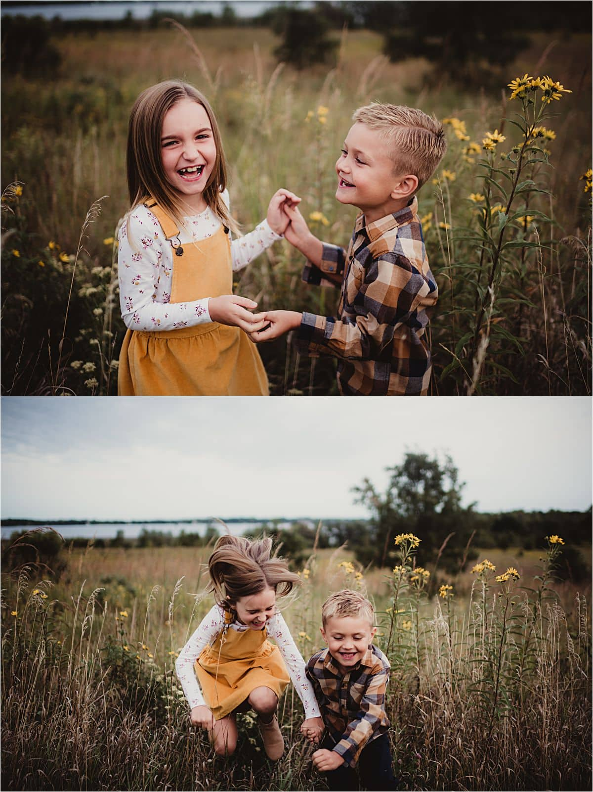 Siblings Holding Hands in Field