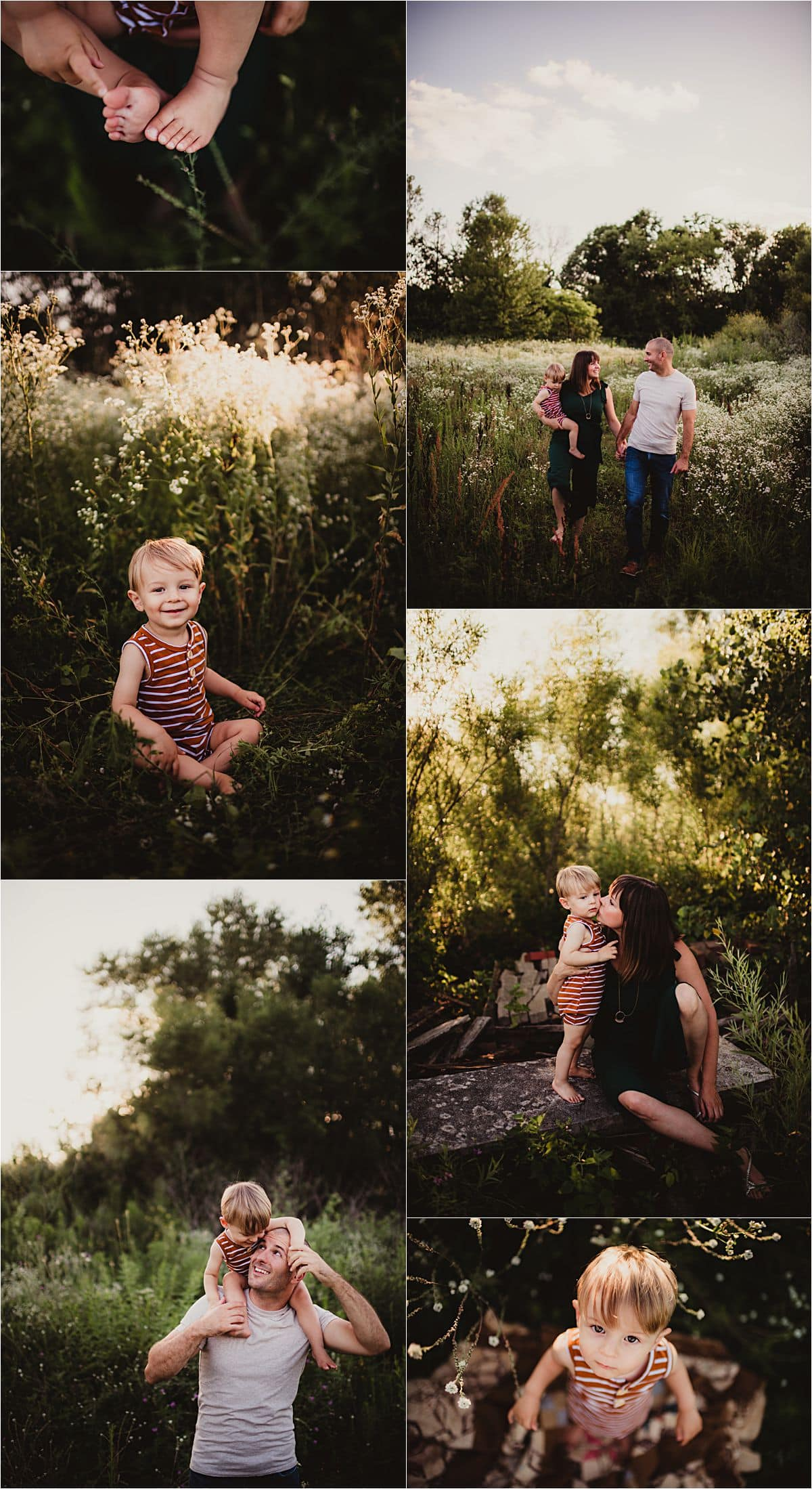 Summer Urban Wildflower Session Collage Parents with Son