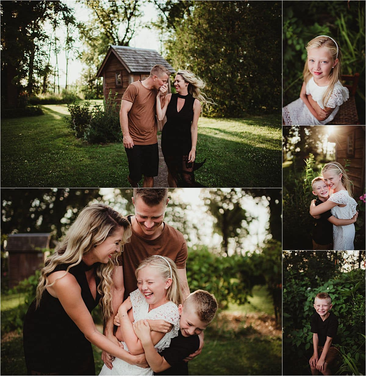 Neutral Palette Family Session Collage Family Snuggling