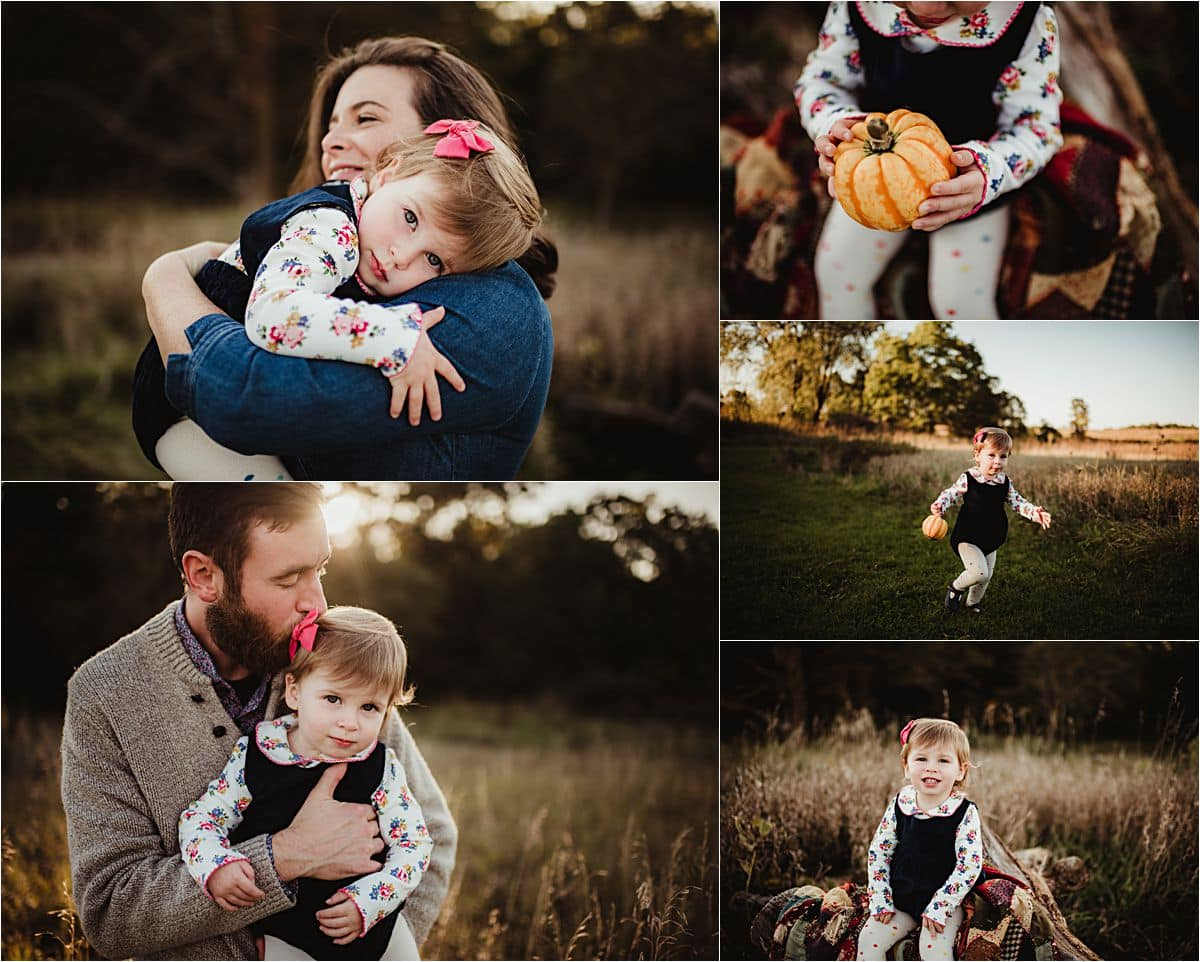 Sunset Fall Family Session Collage Parents Snuggling Daughter