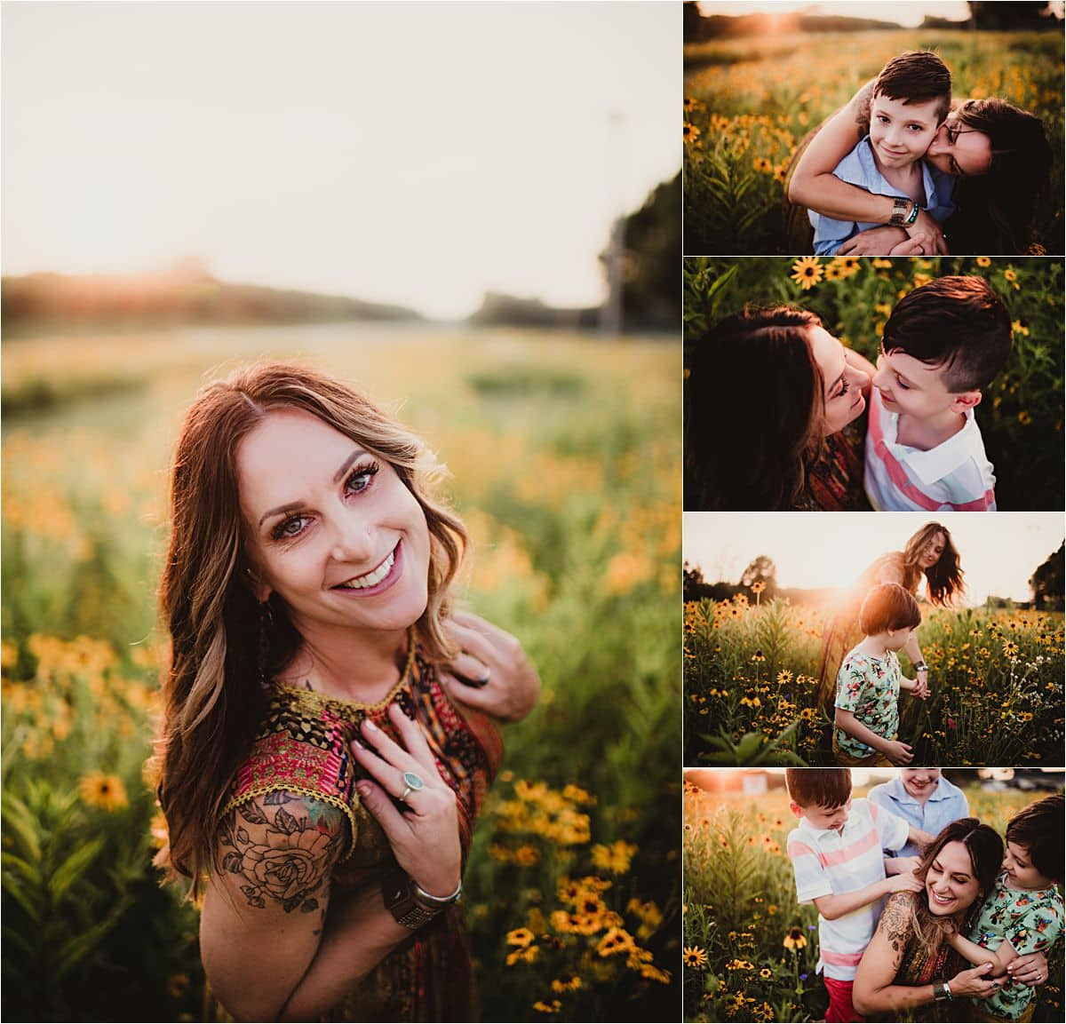 Family of Five's Session Collage Mama with Boys