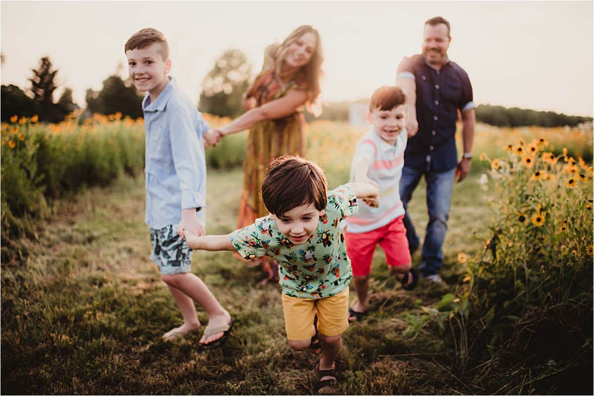 Family of Five's Session Boy Pulling Family