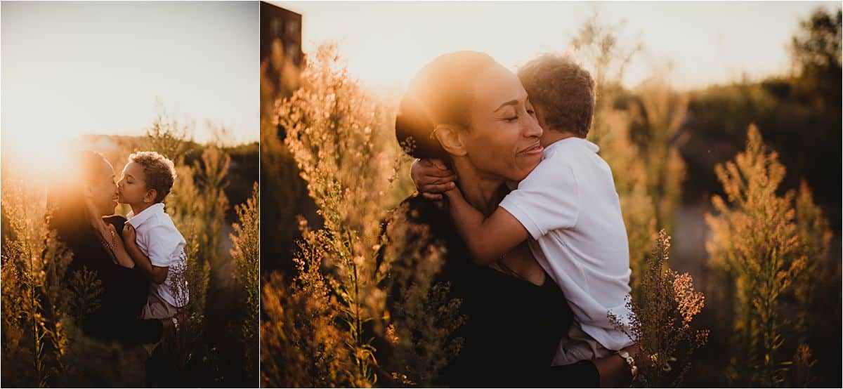 Family Golden Hour Session Mama and Son Snuggling