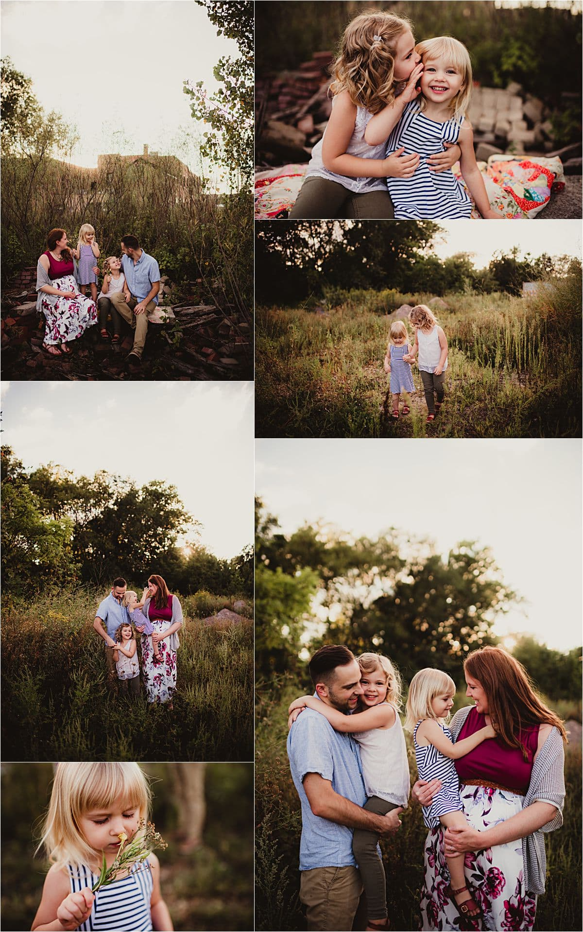 Garver Feed Mill Summer Session Collage Family in Field