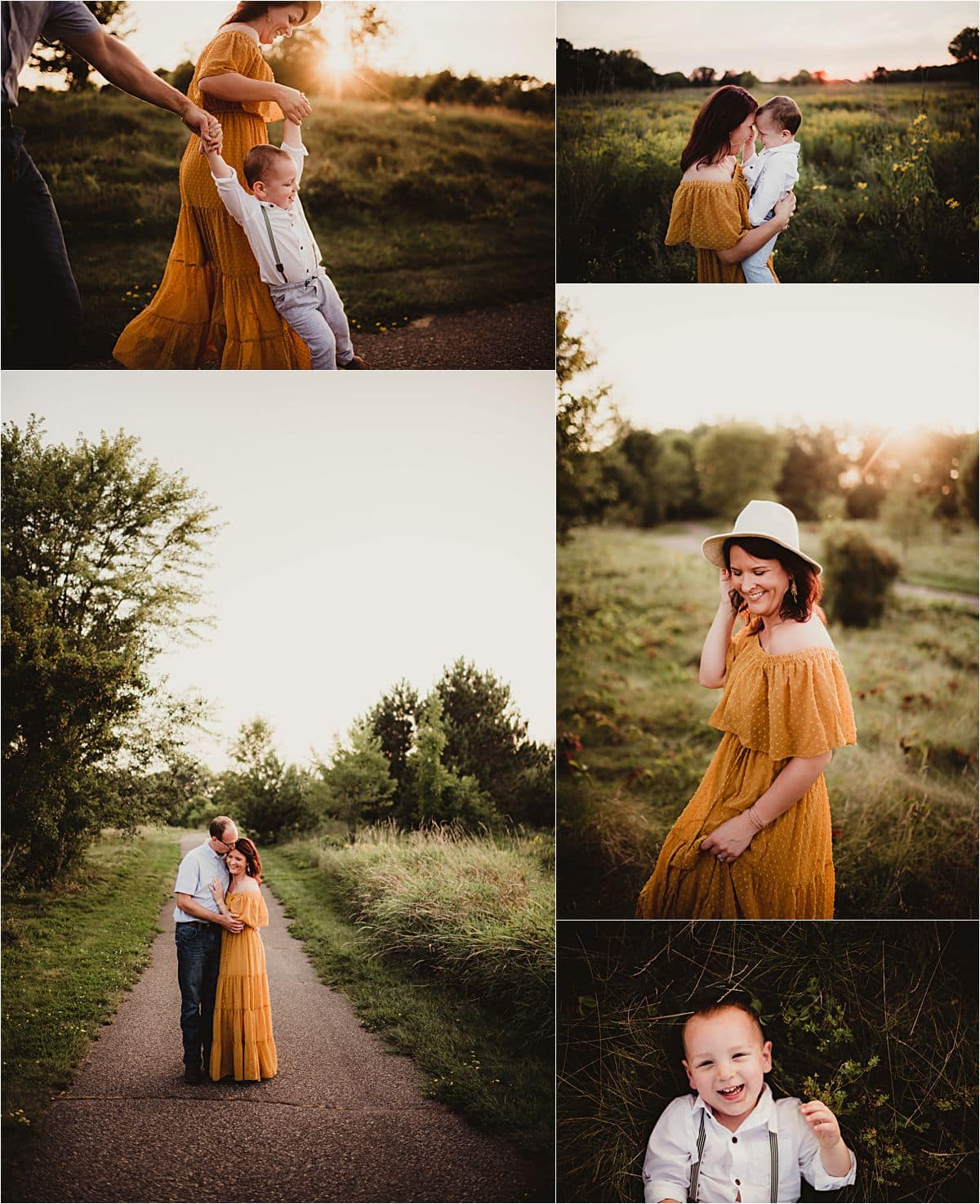 Fall Palette Family Session Collage Family in Field