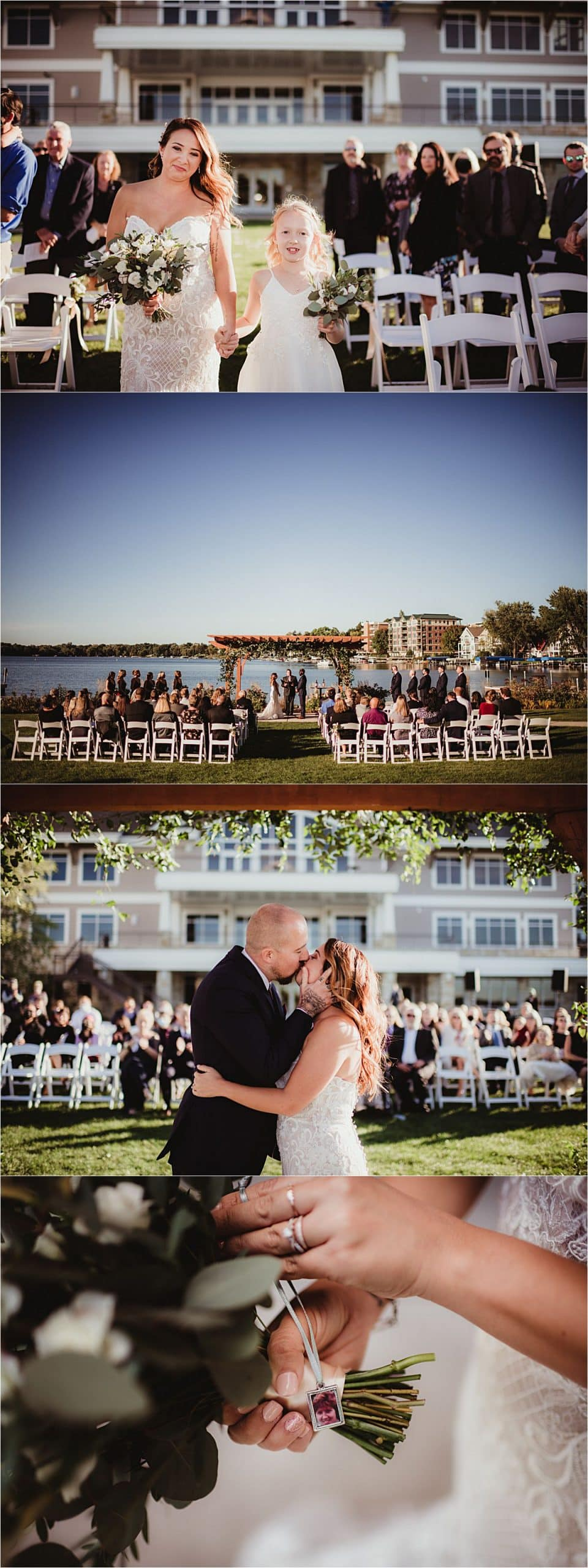 Fall Waterfront Wedding Outdoor Ceremony
