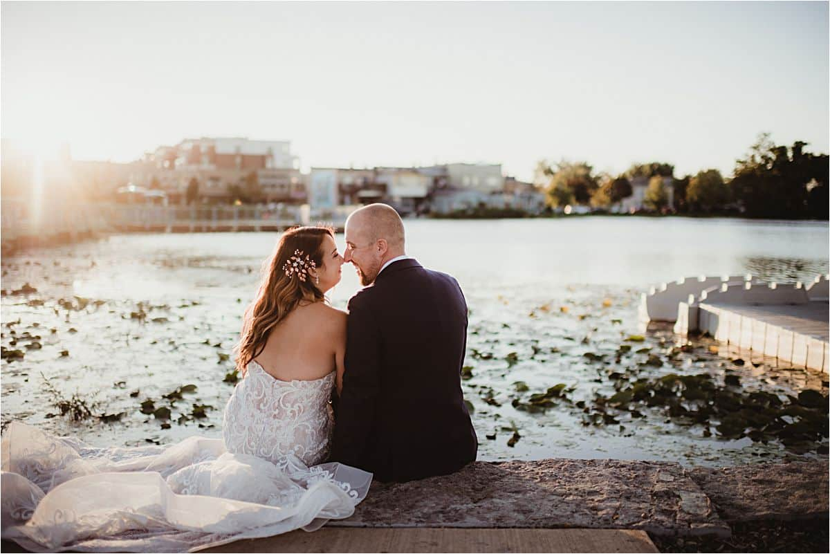 Fall Waterfront Wedding Bride and Groom on Pier
