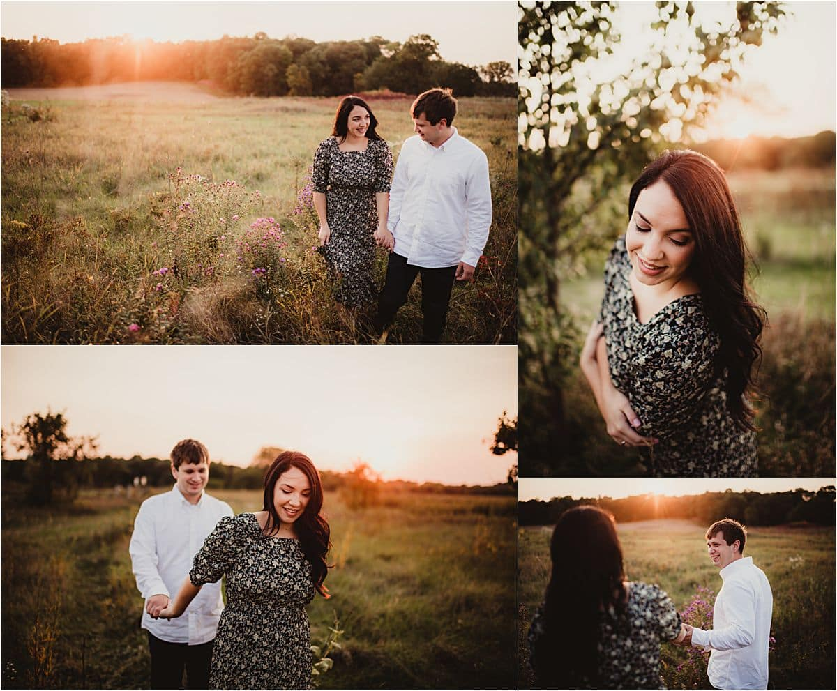 Sunset Wildflower Engagement Session Collage Couple at Sunset