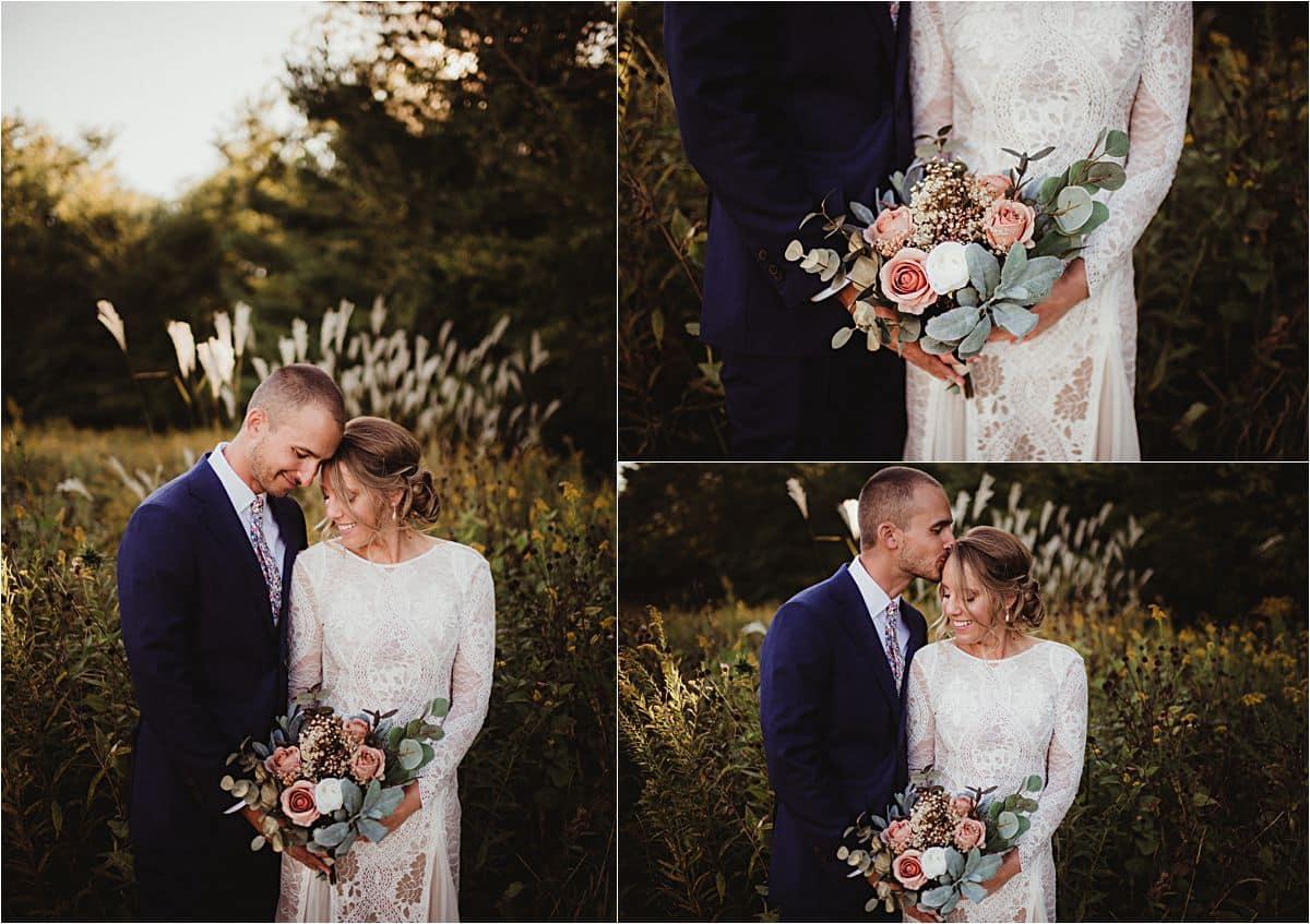 Romantic Backyard Fall Wedding Close Up Couple Bouquet