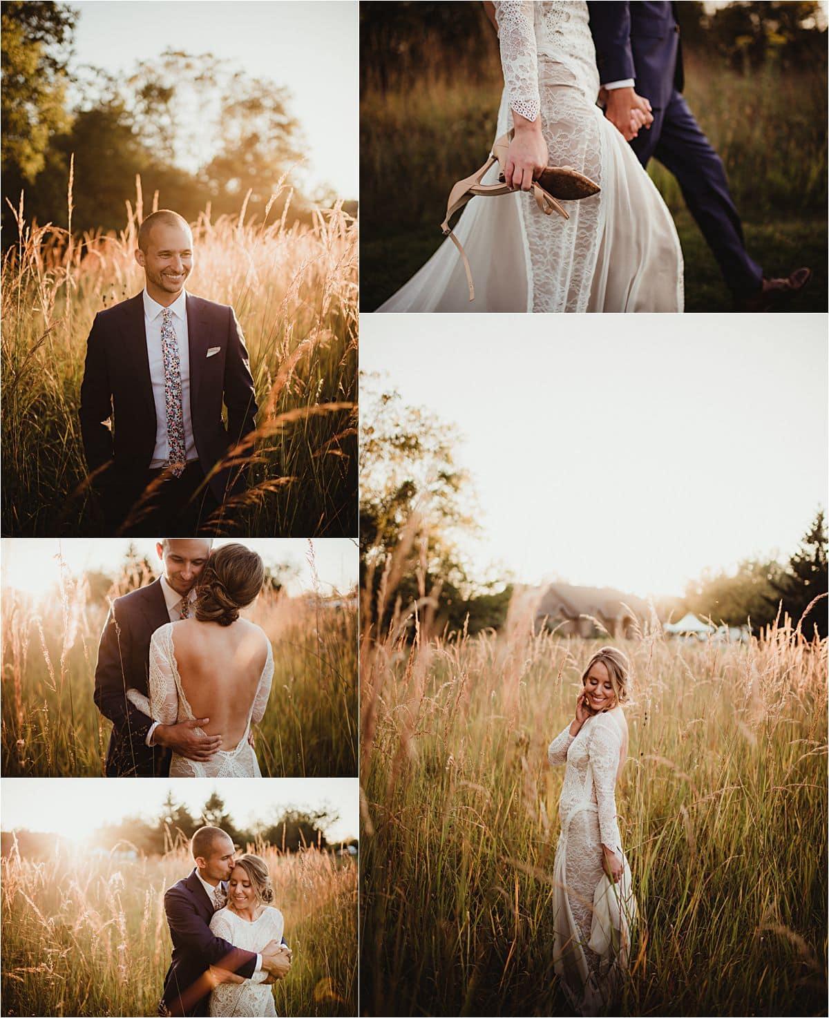 Romantic Backyard Fall Wedding Bride Groom in Field