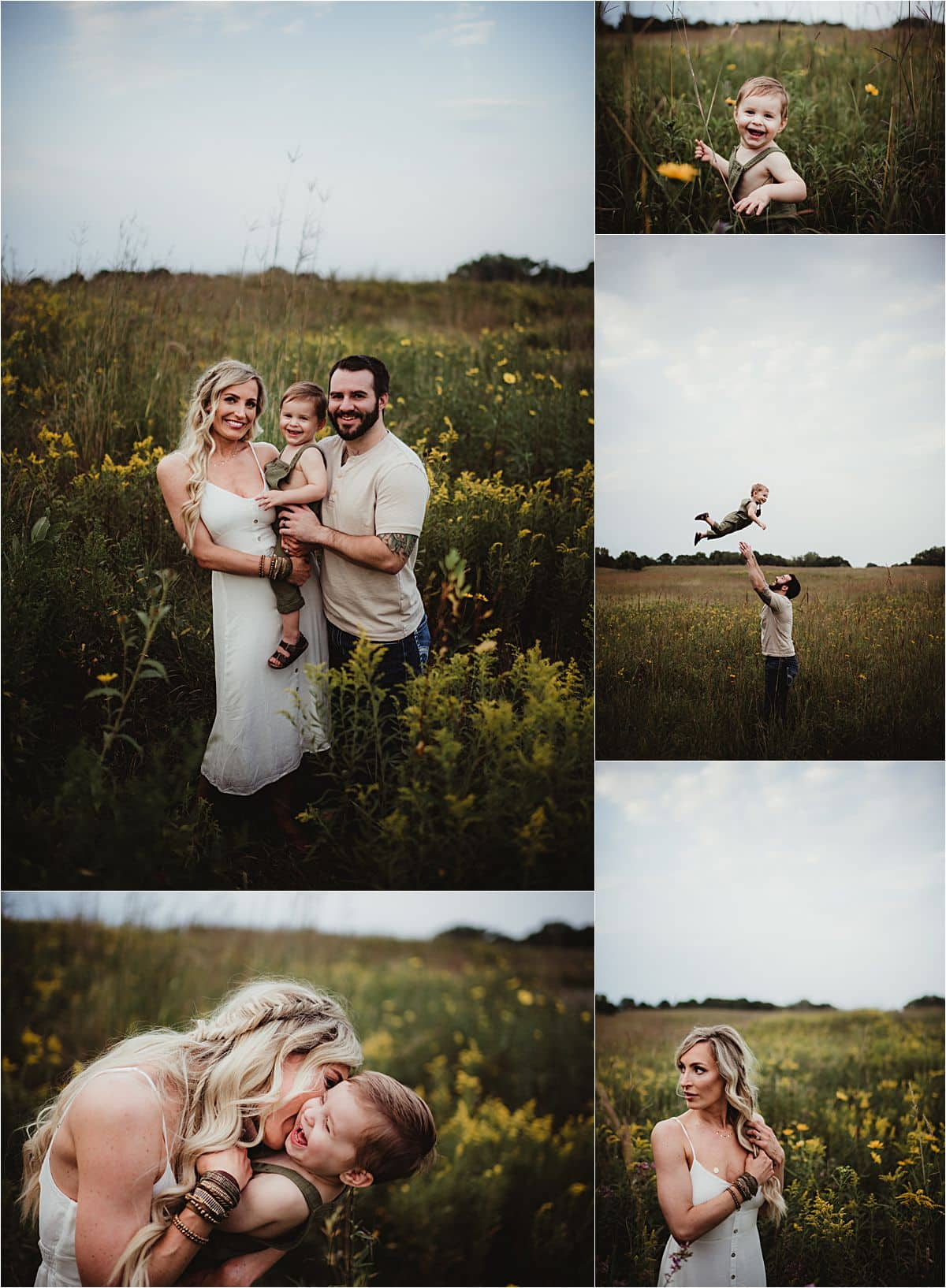 Boho Summer Family Session Collage Family in Field