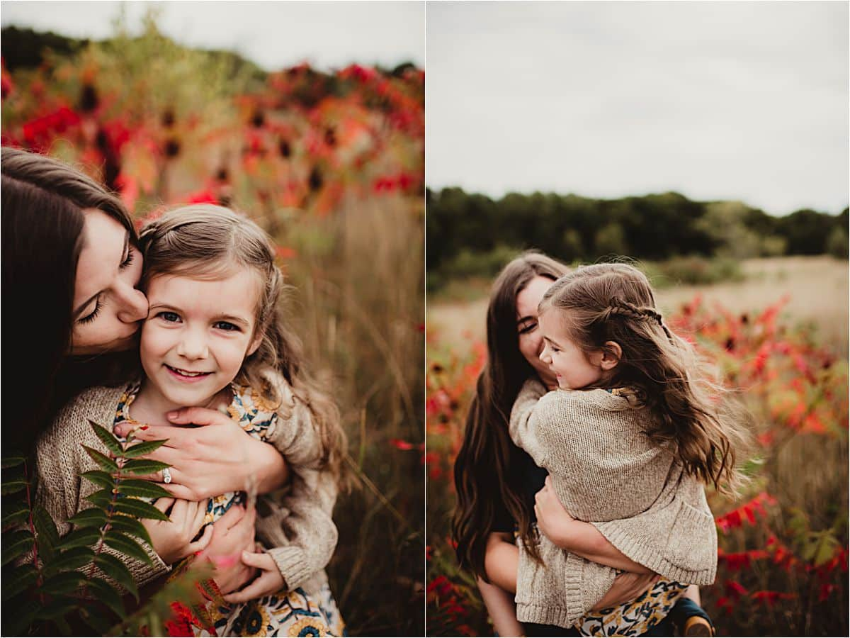 Fall Foliage Family Session Mama Hugging Daughter