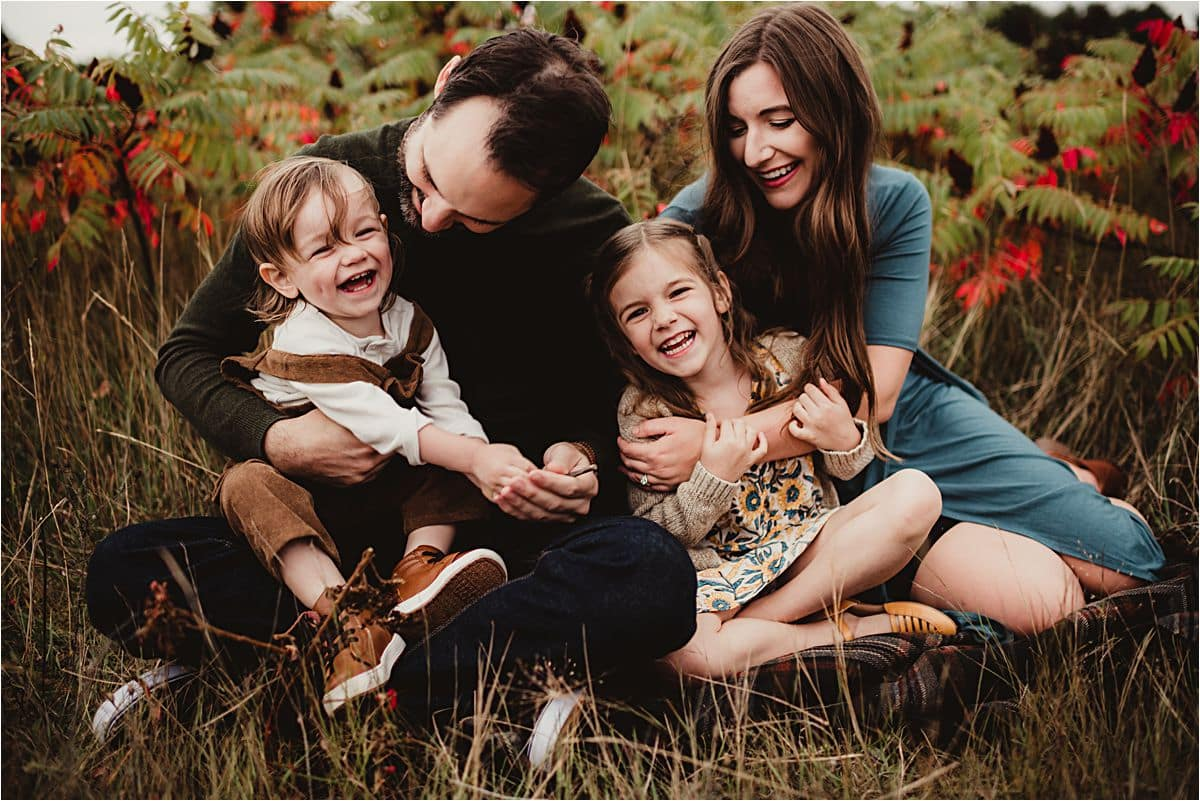 Fall Foliage Family Session Family Sitting Laughing