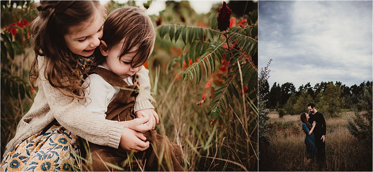 Fall Foliage Family Session Kids Hugging