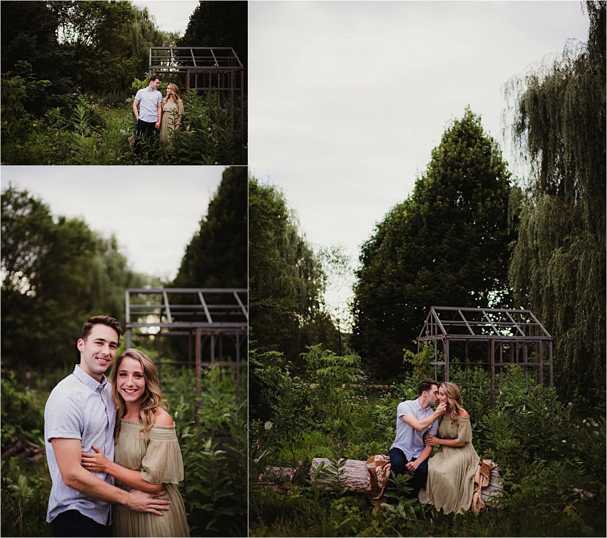 Outdoor Summer Engagement Session Couple Near Greenhouse