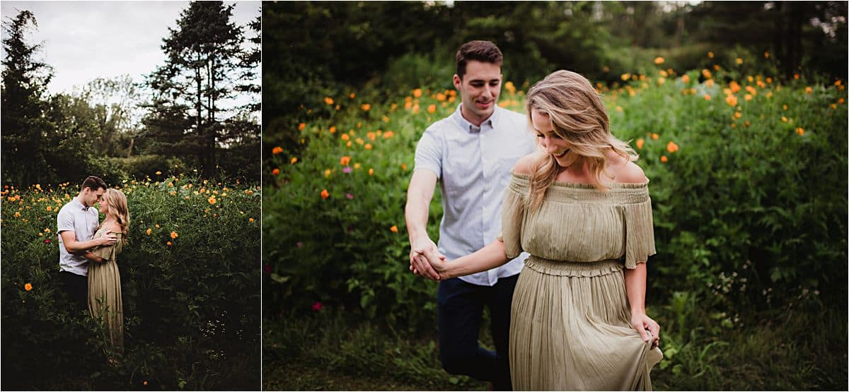 Outdoor Summer Engagement Session Couple in Flower Field