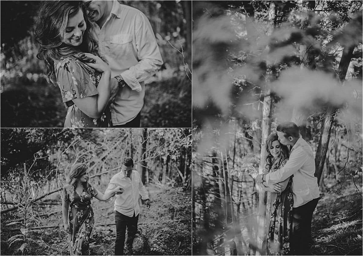 Sunset Lakefront Engagement Session Black and White Collage Couple