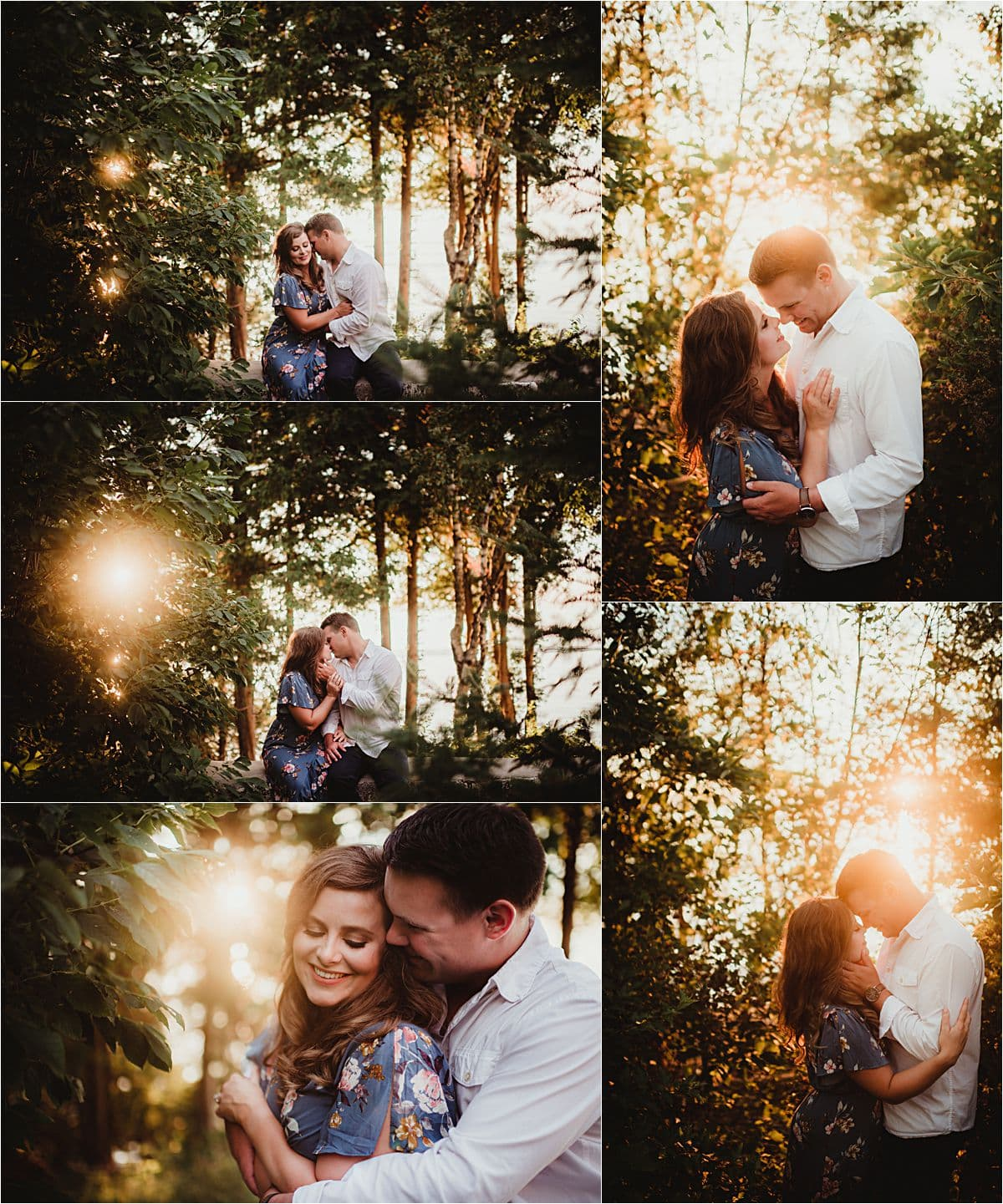 Sunset Lakefront Engagement Session Couple in Woods