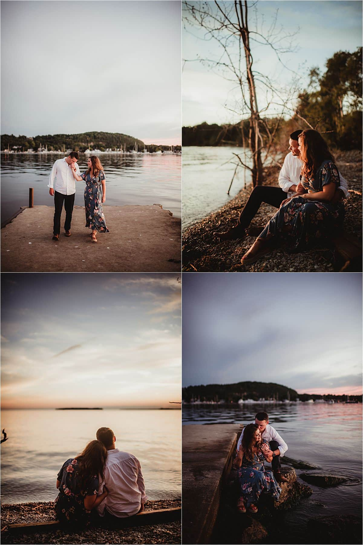 Sunset Lakefront Engagement Session Couple by Lake Sunset