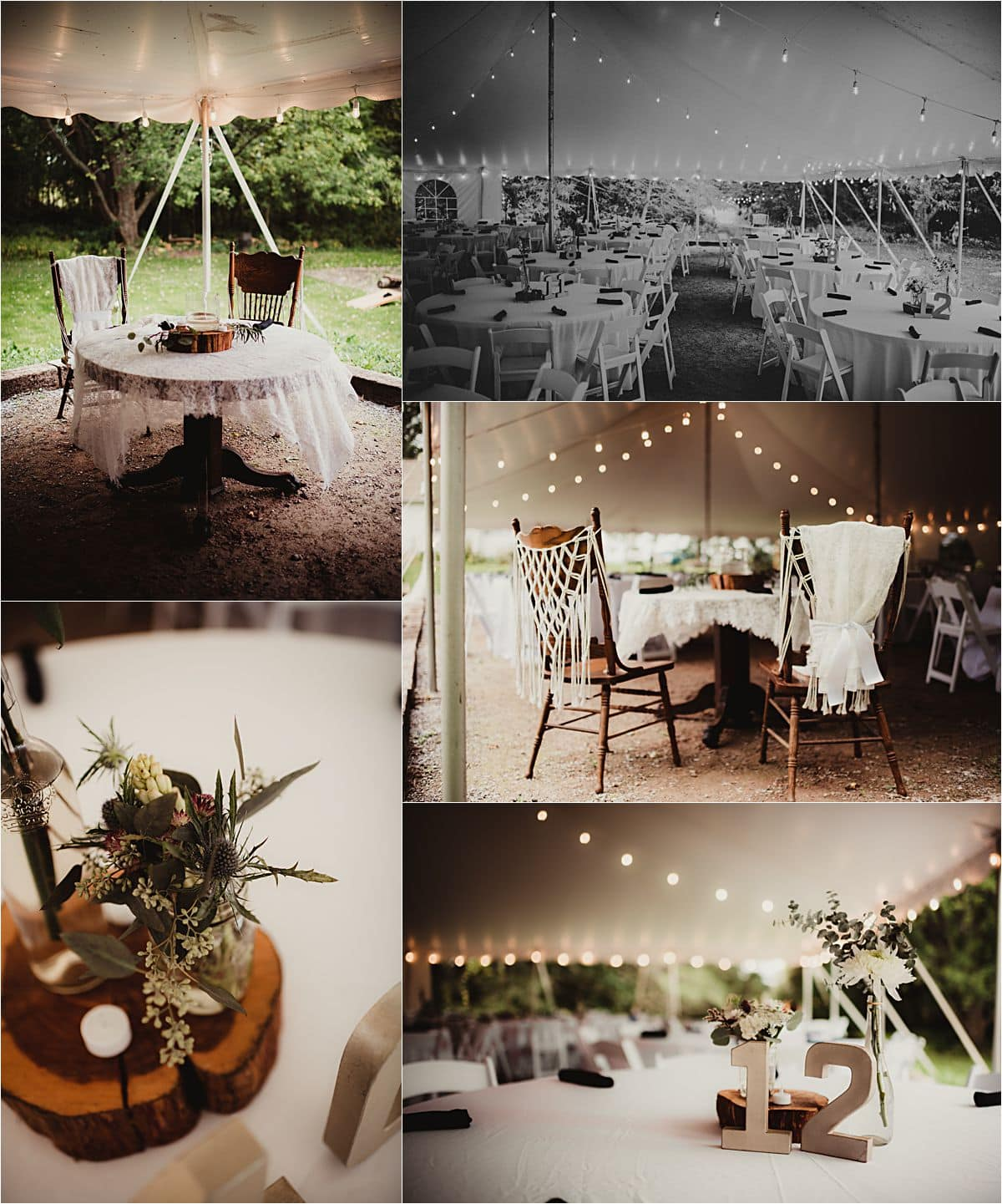 Romantic Rustic Wedding Reception Table Details