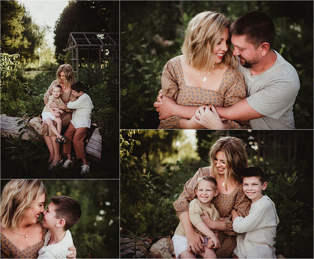 Sunset Neutral Palette Session Collage Family Snuggling
