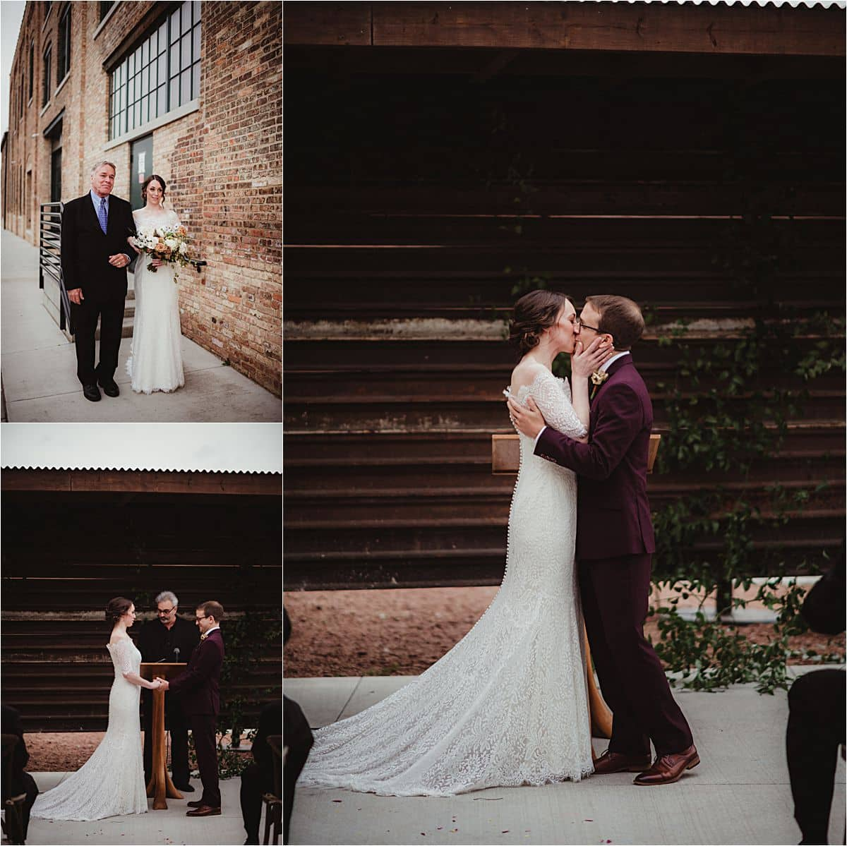 Rustic Industrial Fall Wedding Outdoor Ceremony