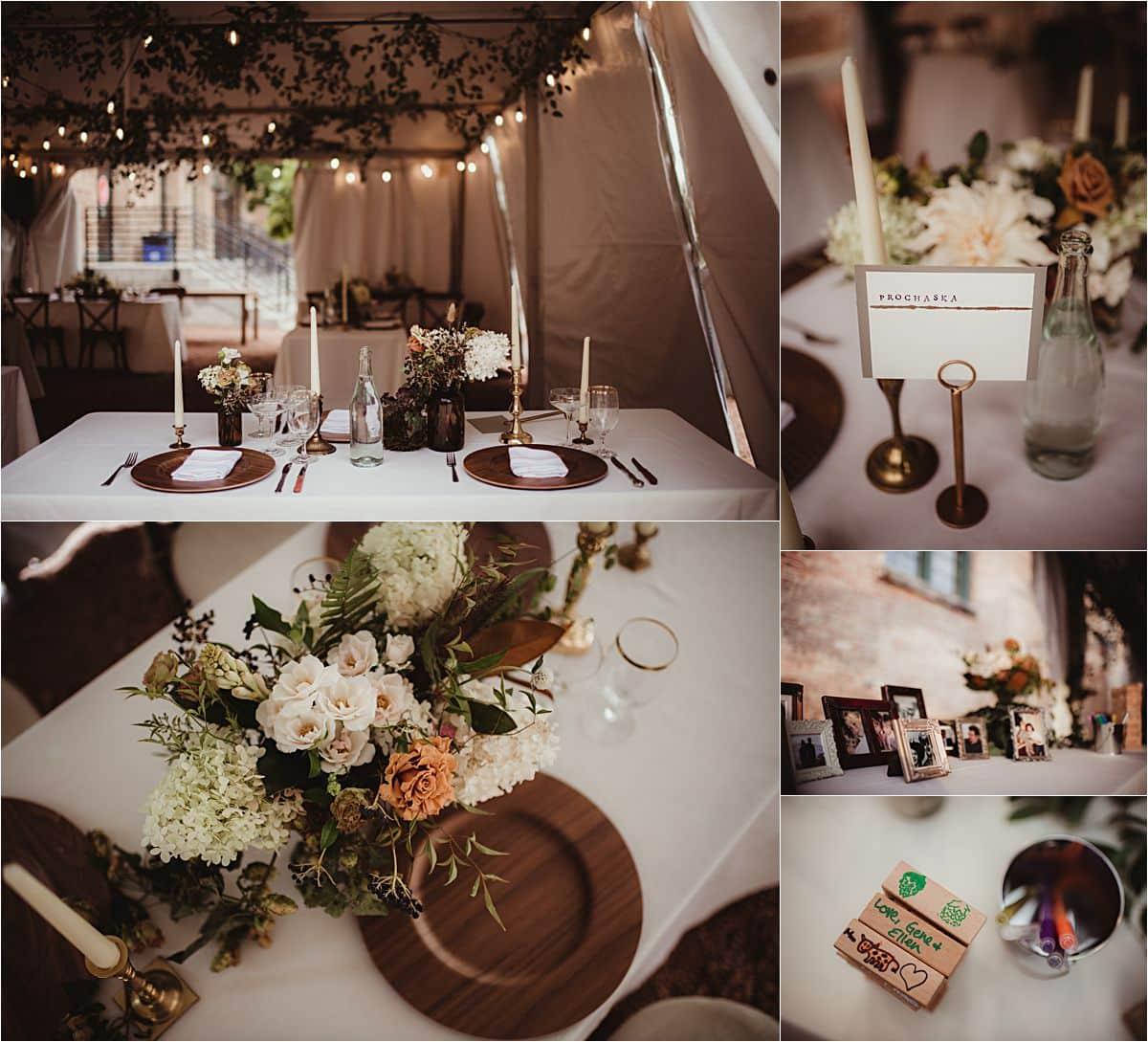 Rustic Industrial Fall Wedding Reception Details