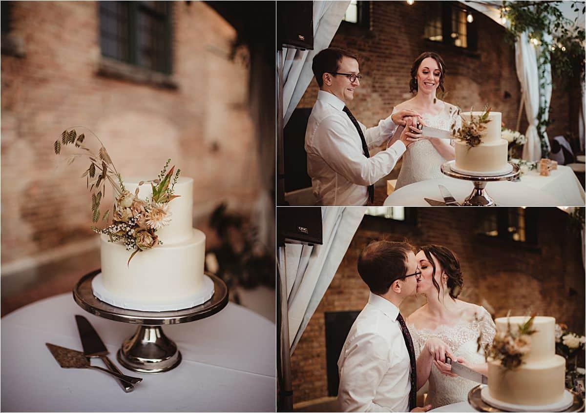 Rustic Industrial Fall Wedding Cake Cutting