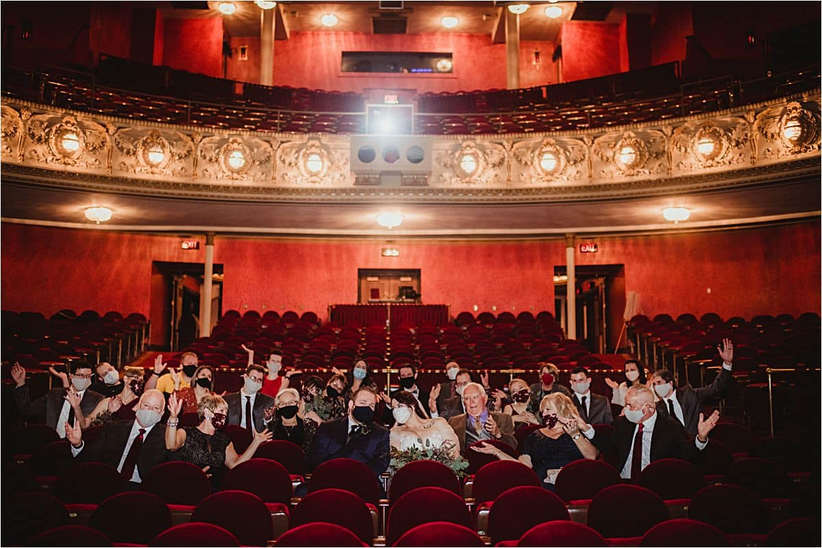 Vintage Theater Micro Wedding Guest Group Photo