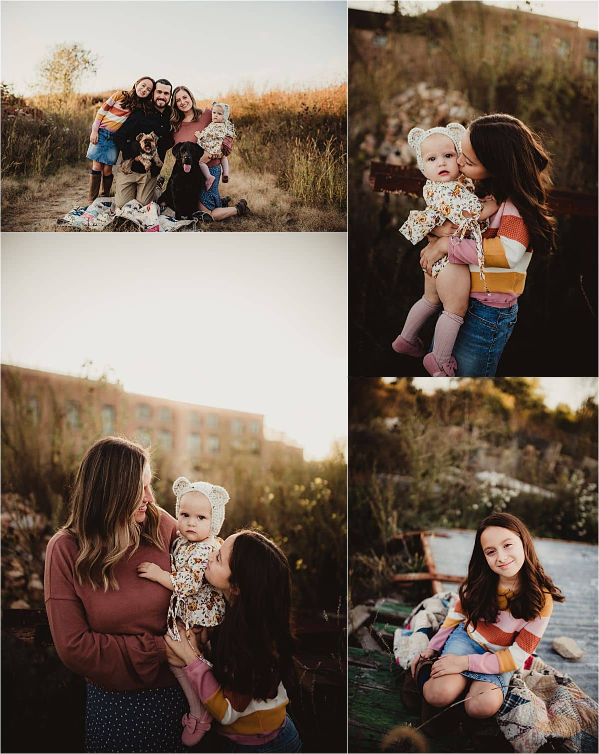 Fall Golden Hour Session Collage Family in Field