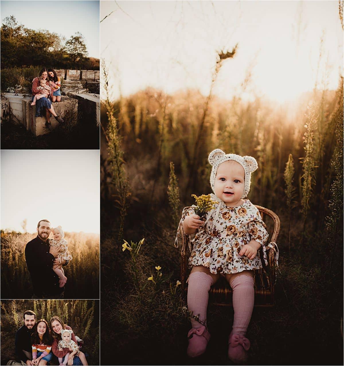 Fall Golden Hour Session Little Girl Bear Hat