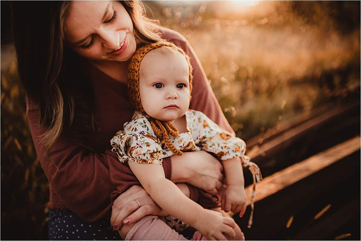 Fall Golden Hour Session Baby Girl with Mama