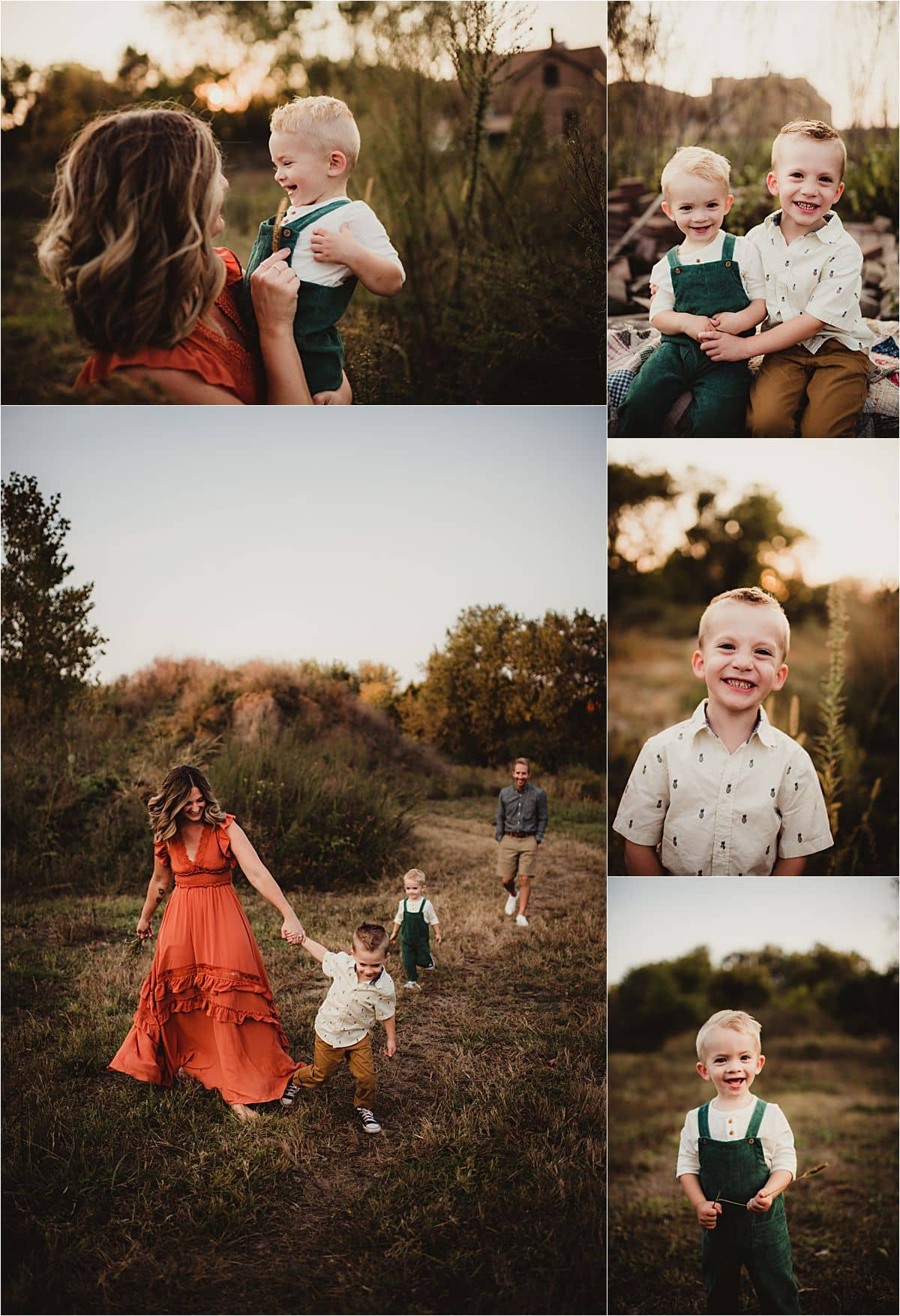 Sunset Fall Family Session Collage Mama with Boys