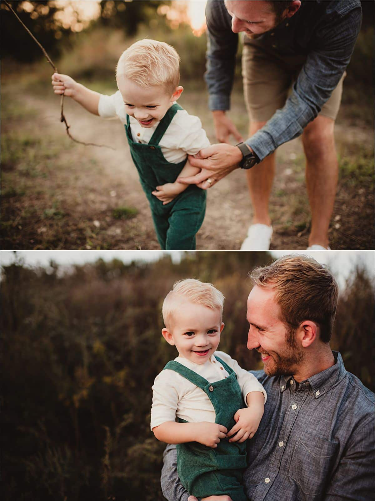 Sunset Fall Family Session Dad with Son