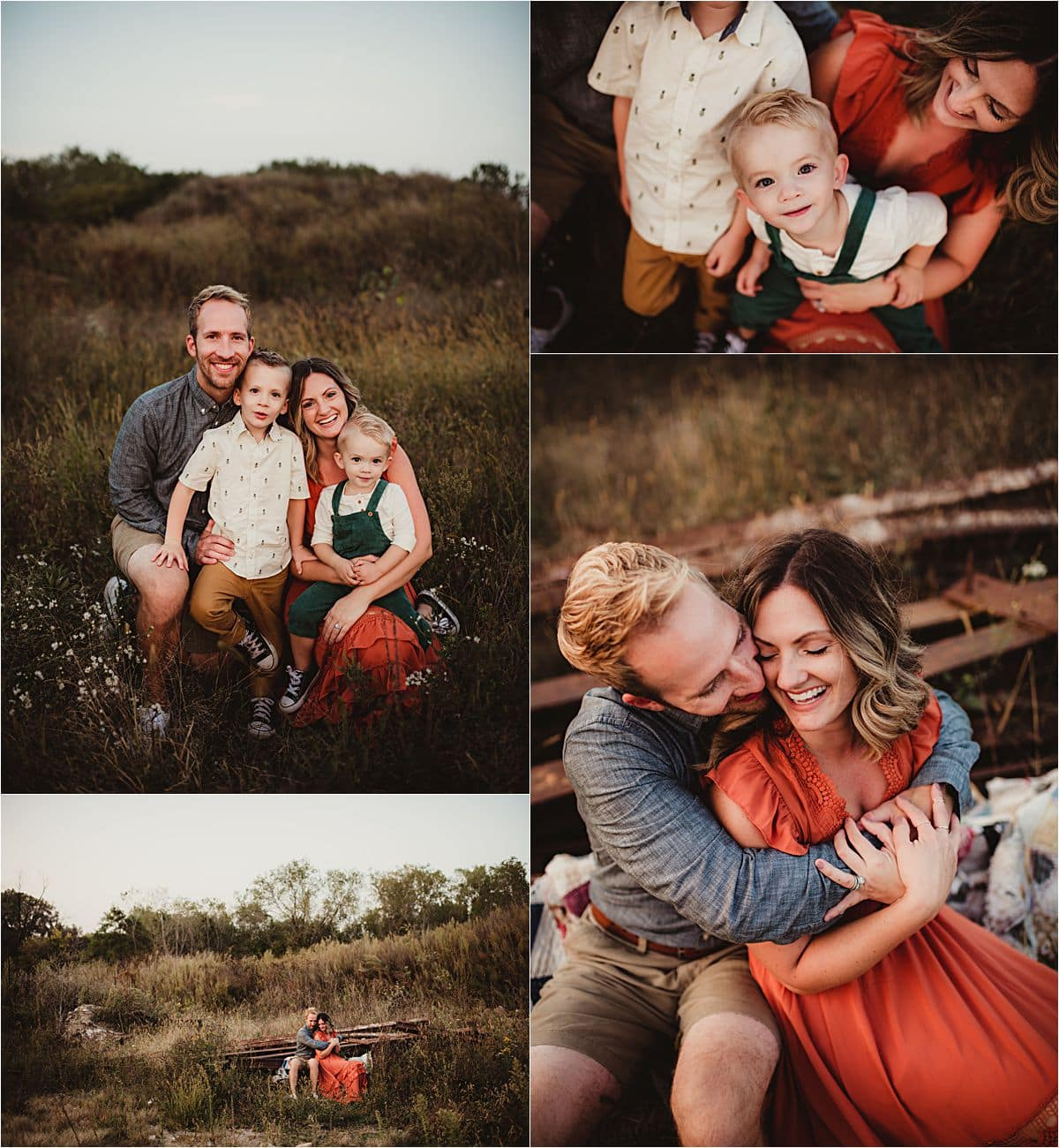 Sunset Fall Family Session Collage Family in Field