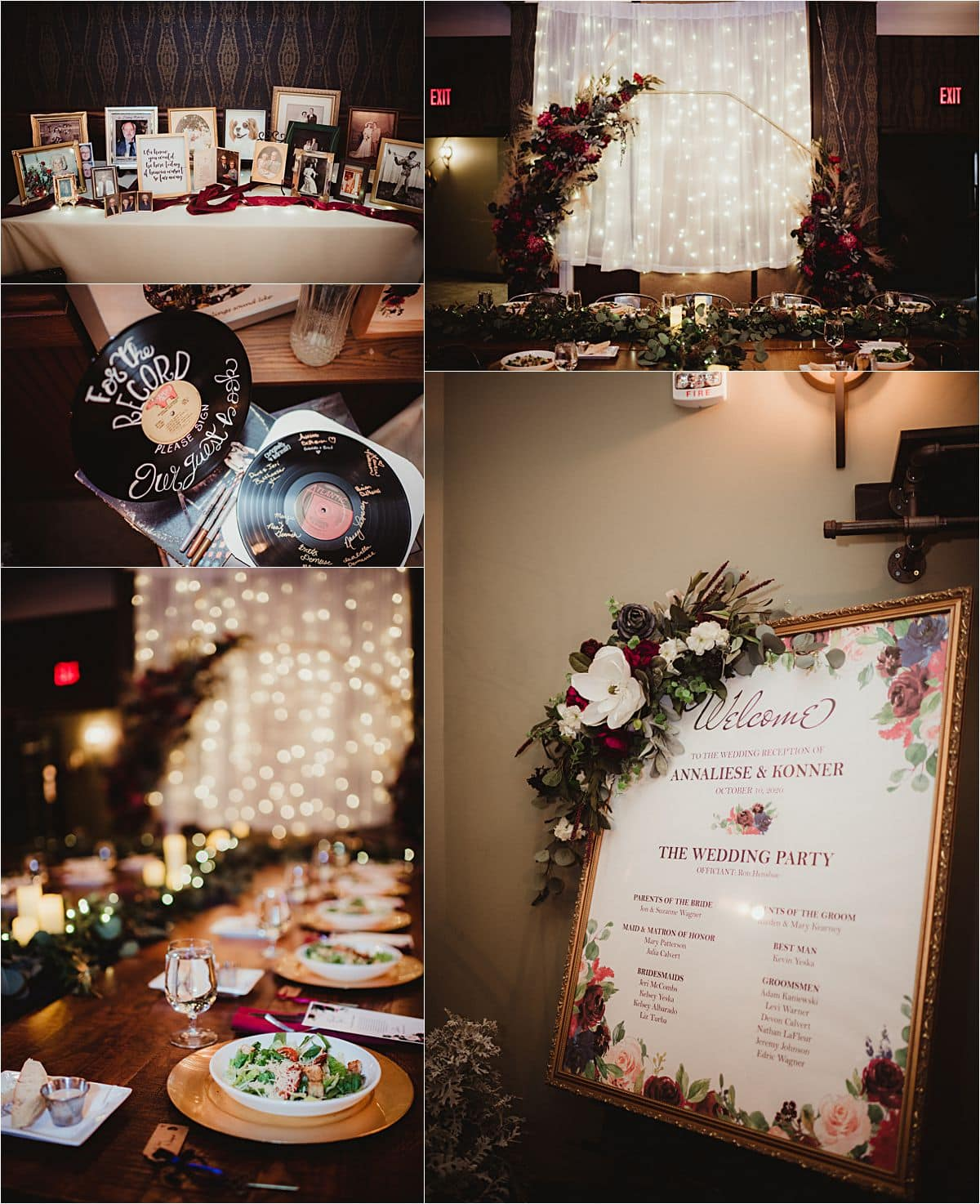 Rich Color Palette Wedding Reception Details